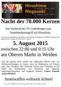 Flyer 70 000 Kerzen für heute Abend 24.07.2015 Nickl berichtigt final